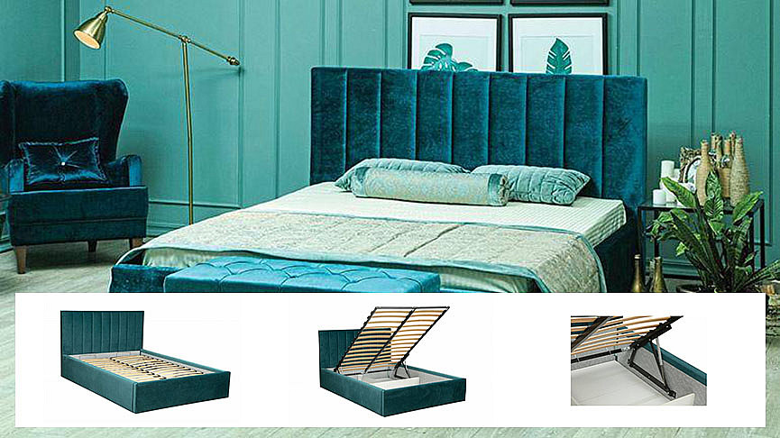 Интерьерные кровати с подъемником очень удобны в использовании